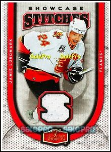 FLAIR-SHOWCASE-2006-JAMIE-LUNDMARK-NHL-FLAMES-RARE-STITCHES-GAME-JERSEY-SSJL