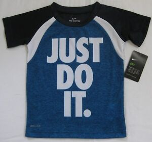 a36619ba2 NEW Boys Nike Dry Dri-Fit T Tee Shirt Just Do It Obsidian Blue White ...