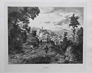 Olevano-Romano-Italien-Italy-Gesamtansicht-Stich-Holzstich-um-1885