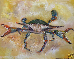 Blue-Crab-8-034-x10-034-Limited-Edition-Oil-Painting-Print-Signed-Art-by-Artist-Home-De