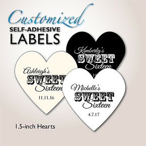 Sweet 16 Ideen.Sweet Sixteen Heart Stickers Sweet 16 Favor Labels Candy Buffet