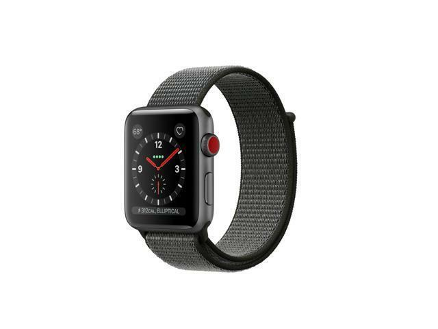 best sneakers 45ffe 7e4c7 Apple Watch Series 3 42mm Cellular Space Gray Aluminum Dark Olive Sport  Loop - MQK62LL/A