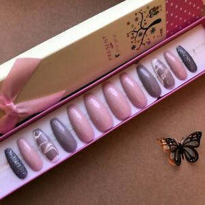 Hand-Painted-False-Nails-XL-COFFIN-or-XL-STILETTO-long-Pink-Nude-Marble-UK