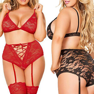 555d0e8bb8542 2pc Set Plus Size Women Bandage Hollow Out Lace Bra G-string + ...