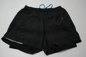 Lululemon-Black-Gray-Striated-Lined-Running-Workout-Shorts-Sz-XL