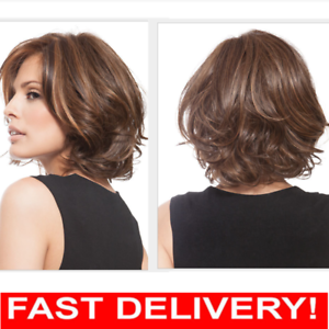 Full Short Women Ladies Fashion Hair Wig Curly Brown Mixed Shoulder ... 2be822816e