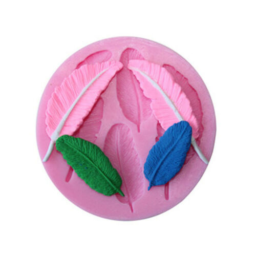 3D Feather Utensils Border Fondant Molds Silicone Mold Leaves Shaped Cake Tools