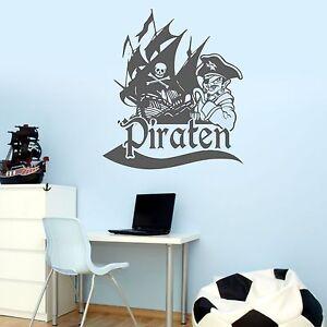 wandtattoo piratenschiff pirat schiff flagge kinderzimmer wandaufkleber ebay. Black Bedroom Furniture Sets. Home Design Ideas
