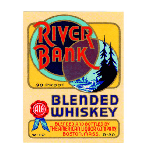 River bank blended whiskey american liquor metal wall plaque sign