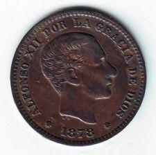 ESPAÑA: 5 céntimos cobre 1878 Barcelona - Rey de España Alfonso XII