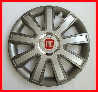"""4 x14"""" Wheel trims Hup caps  Wheel covers fit Fiat 500  - 14'' silver / graphite"""
