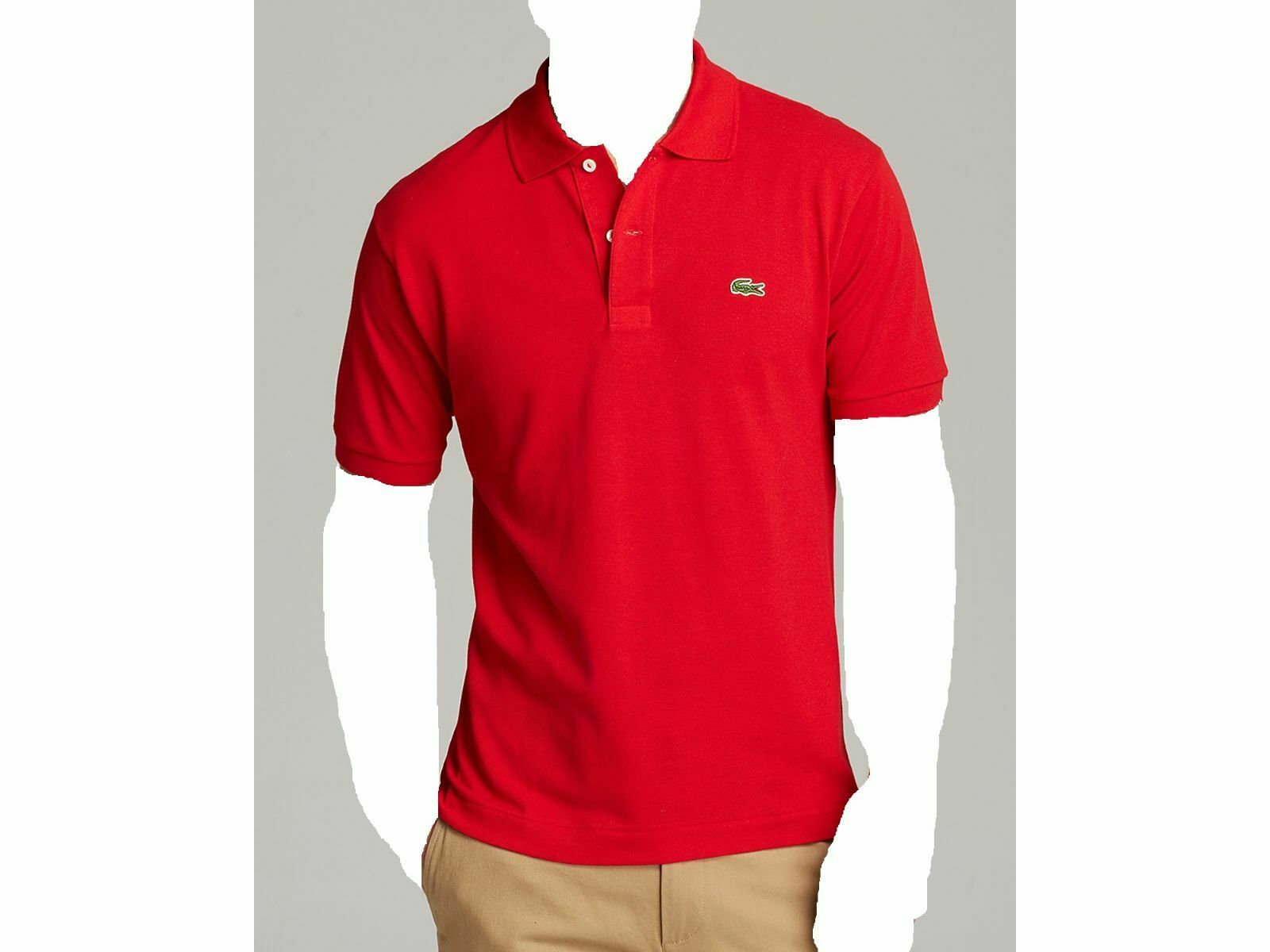 LACOSTE Men's CLASSIC FIT RED SHORT SLEEVE POLO BUTTON CROC LOGO SHIRT 3 S