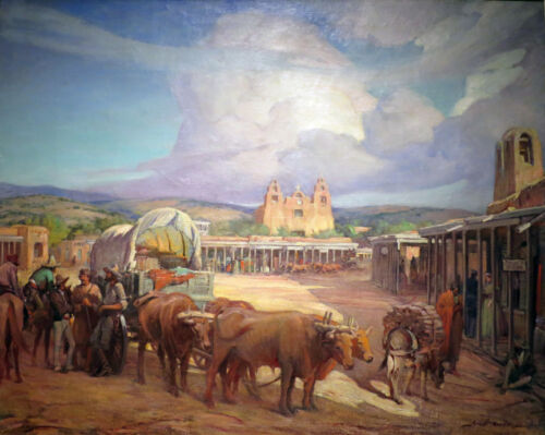 View of Santa Fe Plaza  by Gerald Cassidy    Giclee Canvas Print Repro