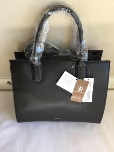 Gianini Bernini Sued Patchwork Satchel Black Multi Handbag