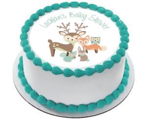 Woodland Animals Baby Shower Birthday Edible Pre Cut Cake