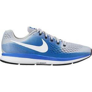 Nike Air Zoom Pegasus 34 Wide (4E) Grey/White/Blue Size 10.5 New