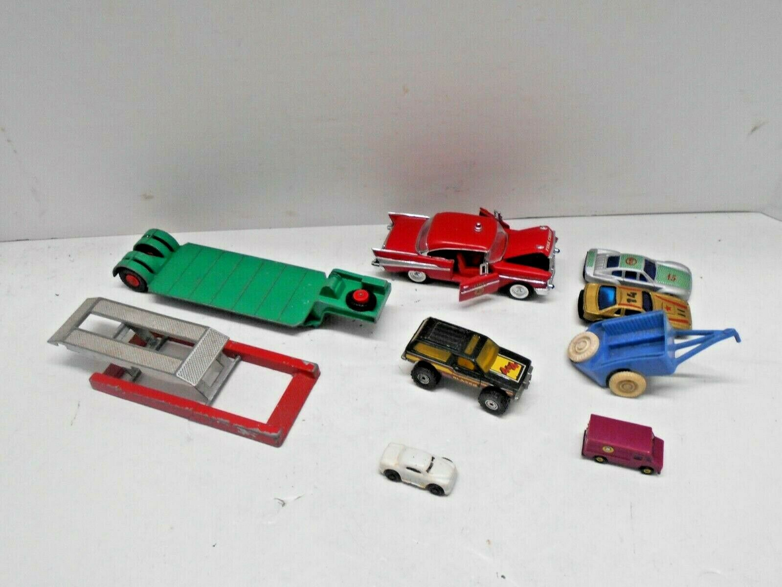 Vintage Car Lot Of 9 Tootsie Toy Car Lift, Matchbox Low-Loader, Thomas Toy, Ertl