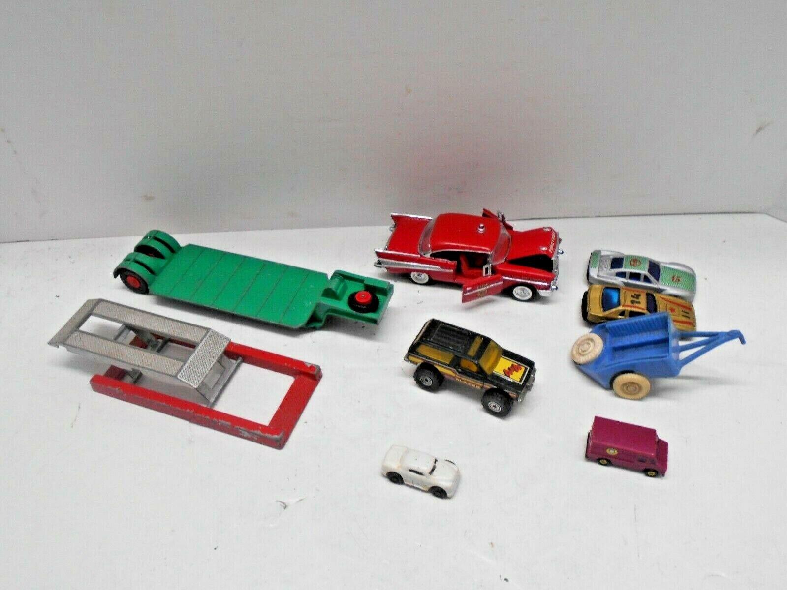 Bil av årgång Lot av 9 Tootsie leksaksbil, Matchlåda låg -Loader, Thomas leksak, Ertl