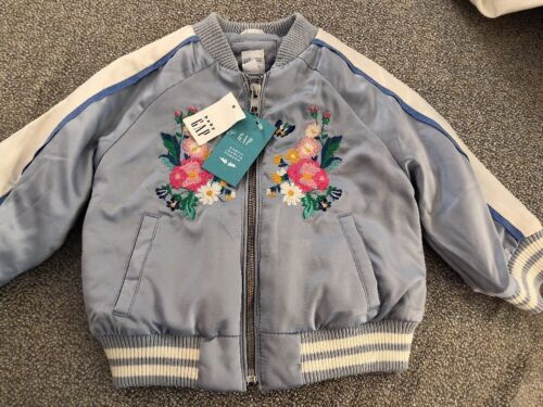 NWT Baby Gap girl Sarah blue Jessica Parker SPRING Rabbit bomber jacket 4 4T