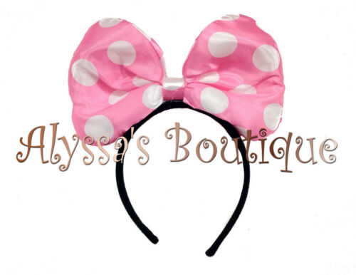 3 Minnie Mouse Pink Big Bow Light Up LED Headband Ears Flashing Birthday Party