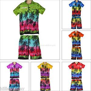 Camicia-Hawaiana-E-Pantaloncini-Set-Party-Costume-S-XL-XXL-Spiaggia-Palma-Stag