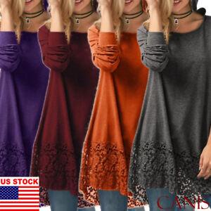 Fall-Winter-Casual-Women-Sweater-Dress-Short-Loose-Top-Long-Sleeve-Plus-Size-US