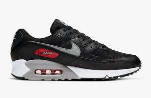 Details about Nike Air Max 90 Black / Red Mens Shoes Leather Trainers