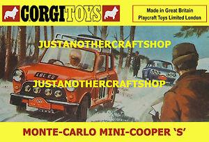 Corgi-Toys-339-Mini-Cooper-S-Monte-Carlo-1967-Poster-Cartel-Folleto-anuncio-A4-Tamano