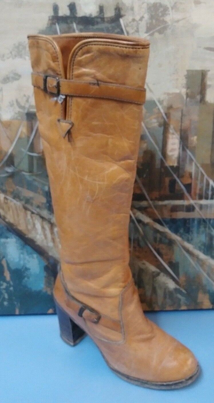 WOMENS ZODIAC COWBOY LEATHER BROWN BOOTS SIZE 8 M