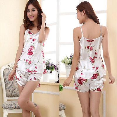 2015 Women's Flower Sleepwear Braces Shirts + Shorts Underwear Pajamas Robes Set