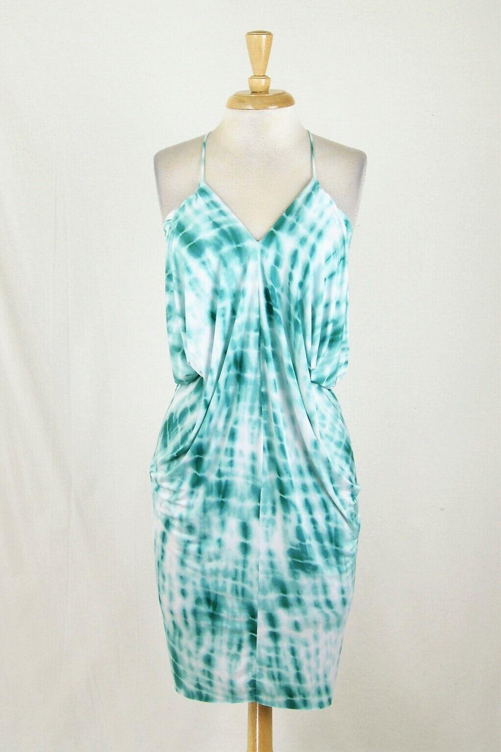 Nuevo Tbags Los Angeles verde Azulado  blancooo Vestido elástico Tie Dye Drapeado Talla XS  mejor marca
