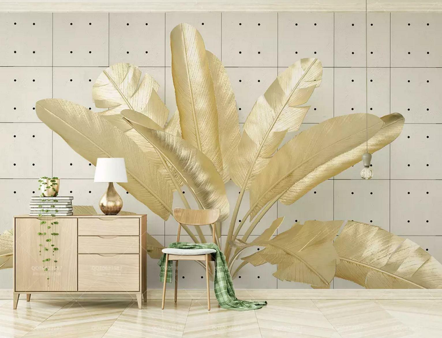 3D golden Leaf 821 Wall Paper Exclusive MXY Wallpaper Mural Decal Indoor Wall AJ