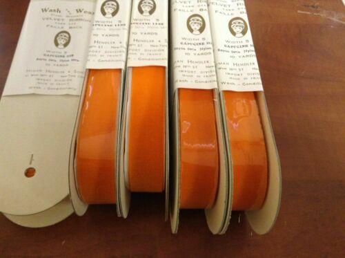 "5 Yards 5//8/"" Orange Capucine Velvet Vintage Ribbon Fabric France Wash And Wear"