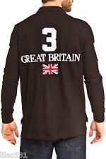 Polo Ralph Lauren Custom Fit Big Pony GREAT BRITAIN UK Flag Rugby Shirt Black L