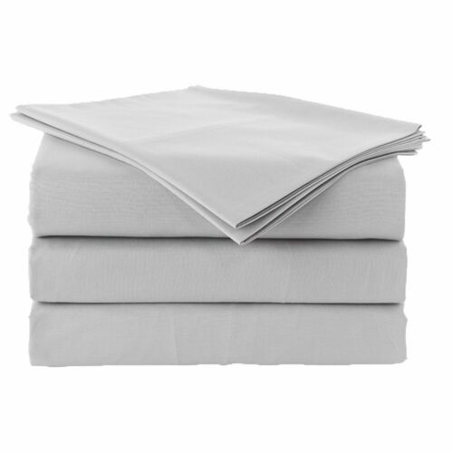 Egyptian Cotton 800-Thread Count Light Grey Solid Flat Sheet Only All USA Size