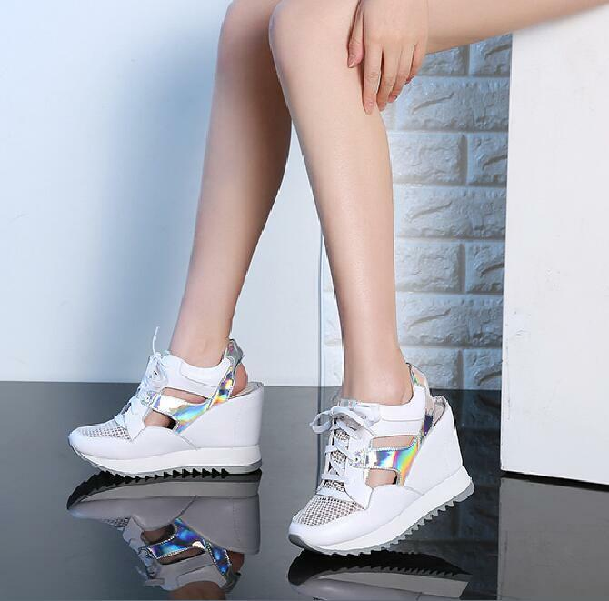 New Womens Sneakers Creeper Platform High Wedge Heels Lace Lace Lace Up Sandals Hollow Out 2de256