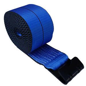 2-Blue-4-034-x30-039-Winch-Straps-Flat-Hook-Flatbed-Truck-Trailer-Tie-Down-Binder-Strap