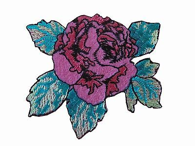 #5089P Pink Rose Herbaceous Peony Flower Embroidery Iron On Applique Patch