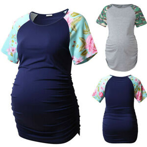 8f614cae6 Image is loading Women-Maternity-Pregnancy-Floral-Splice-Short-Sleeve-Tops-