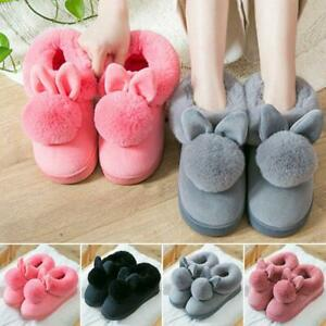 New Women Plush Cute Bunny Rabbit Slippers Winter Warm Soft Home Indoor Shoes