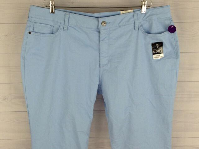 St. John's Bay Womens Plus Size 24W Stretch Solid Blue Slimming Capri Jeans NWT