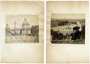 Roma Lotto di due singole piccole foto all' albumina originali 1860c S1551