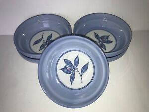 Lot-5-Toyo-Japan-Small-Rice-Bowls-White-Periwinkle-Blue-Leaf-Branch-Flower