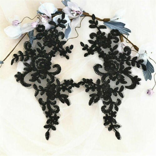 1Pair Bridal Embroidery Applique Sequins Wedding Lace Hair Decoration Motif Trim