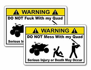 QUAD Vinyl Warning Sticker Decal ATV Racing Funny YZF Raptor Grizzly TRX KFX
