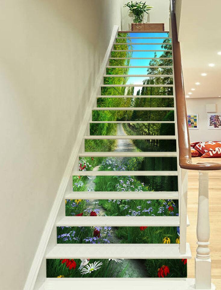 3D Garten Spur 278 Stair Risers Dekoration Fototapete Vinyl Aufkleber Tapete DE