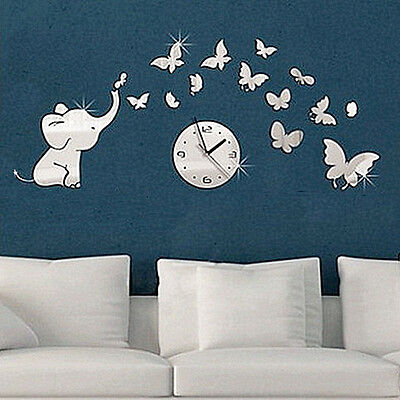 Elephants play Butterfly Sticker DIY Mirror Wall Clock Wall Sticker Home Hottest