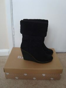 Boot-Wedge-Suede-Black-UK-Size-7-Casual