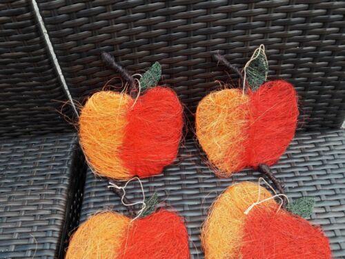 große orange Äpfel 2 farbig Kunstfaser mit Stiel  Garten Floristen Herbst 4 St