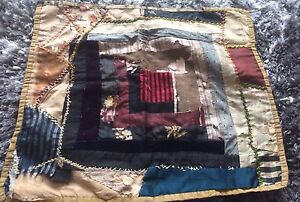 Antique-Vtg-Doll-Quilt-Primitive-Distressed-Cradle-Bed-Display-Americana-Prim